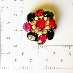 Rare SCHREINER NY Ruby Red Garnet High Dome Brooch